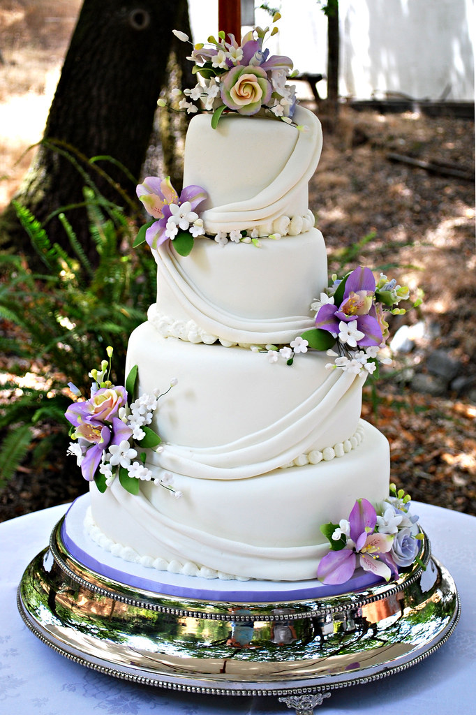 Sugar Flower Drapped Wedding Cake