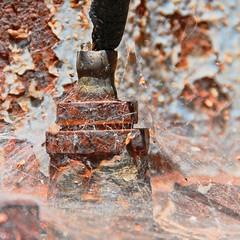 Spider Work (-Brian Blair-) Tags: blue metal rust iron decay metallic steel machine rusty