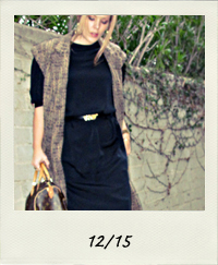 over the knee leather boots, vintage black dress, DIY sleeveless tweed coat, 12-15 outfit+what I wore