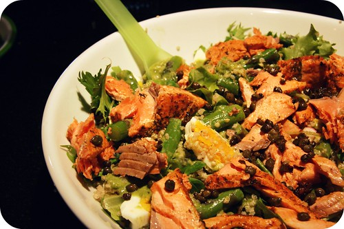 salmon salad close up
