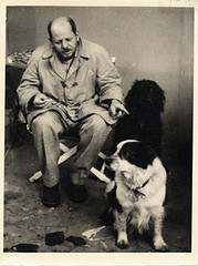 Jackson Pollock with his dogs, ca. 1955