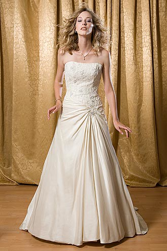 strapless wedding satin gown