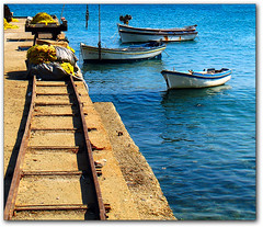 Dock at Moutsouna (Naxos, Greece) (jesssie) Tags: sea docks boats boat fishing aegean culture greece fishingboats greekislands reflexions cyclades naxos aegeansea    moutsouna  abigfave colorphotoaward superaplus  aplusphoto diamondclassphotographer  ysplix  platinumheartaward        peachofashot