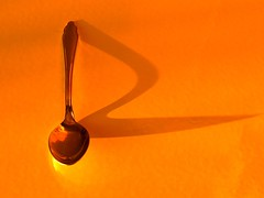 orange x (*ivyness*) Tags: shadow orange abstract color manipulated colorado neon spoon bent farbe naranja fluor lffel bunt oranje cuchara