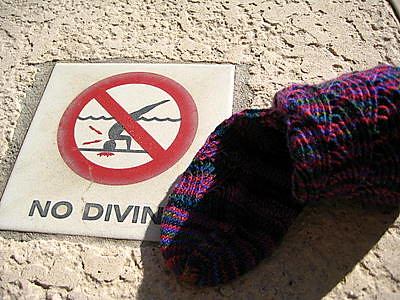 The sock was thinking of diving in but saw this sign warning him