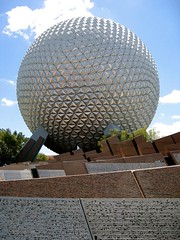 Spaceship Earth welcomes us to Epcot (beastandbean) Tags: fun orlando epcot interesting shiny florida space awesome disney mickey adventure hidden scifi planets educational rides waltdisneyworld iconic themepark futuristic magickingdom spacecraft hiddenmickey geeky exciting attractions nerdy geodesicdome waltdisney spaceshipearth narrator futureworld judidench coolrides frontgates epcotmainentrance