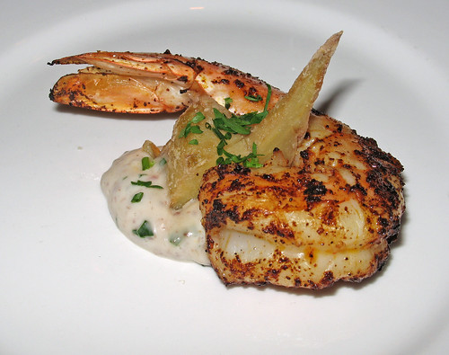 Amuse bouche: Grilled Shrimp with Crispy Artichoke and Olive Tartar Sauce