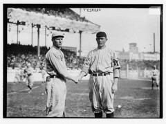 [Smokey Joe Wood, Boston AL, & Jeff Tesreau, New York NL (baseball)]  (LOC) (The Library of Congress) Tags: field al baseball stadium redsox shake libraryofcongress uniforms nl bostonredsox americanleague pologrounds nationalleague newyorkgiants smokeyjoe xmlns:dc=httppurlorgdcelements11 tesreau smokeyjoewood jefftesreau 1912worldseries dc:identifier=httphdllocgovlocpnpggbain11498 newyorkbaseballgiants