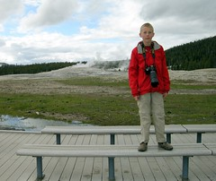 I am SO Proud of this Kid! (ricko) Tags: camera portrait oldfaithful pride grandson yellowstonenationalpark hunter wyoming geyser benches