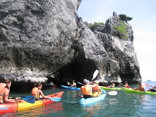 Paddling into a small cove