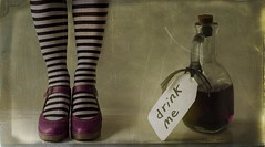 How Peculiar! (sosij) Tags: selfportrait vintage shoes drink alice stripes tights aliceinwonderland drinkme flyshoes