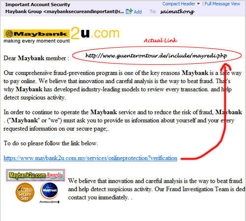 Maybank2u.com Email Phishing Scam In Yahoo Email