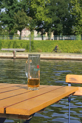 thirsty (Tomsch) Tags: trip trees berlin water beer glass tag3 taggedout river germany table deutschland holidays wasser tag2 tag1 capital hauptstadt journey bier fluss spree tisch bume stdtetrip