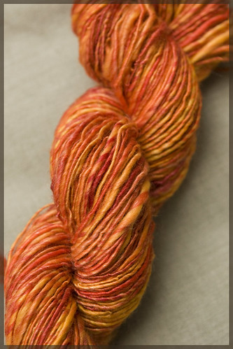 Superwash wool and tencel, single, med-bulky, 175 yards