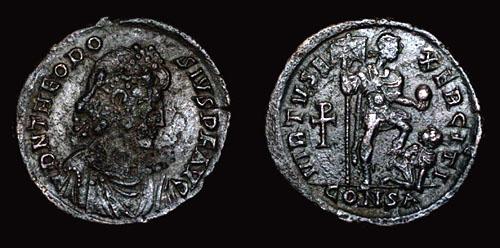 Roman Emperor Theodosius I coin