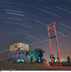 Lost Again (Jamal Alayoubi) Tags: old blue light red sky tree green lines lost star nikon desert space east trail arab kuwait middle nikkor d3 jamal 2470 alayoubi