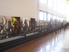 The wall of a big gym hall filled with fantasy paintings