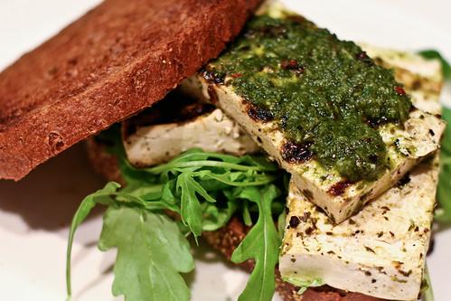 grilled chimichurri tofu sandwich