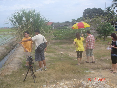 Setting up a scene at the paddy fields