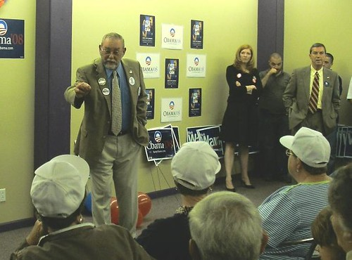 Va. State Delegate Dan Bowling speaks to the crowd at the opening of Obama's Tazewell Campaign Office - Sept. 25, 2008