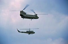 B Model Gunship Gets A Lift (Nigel Smuckatelli) Tags: war aircraft huey chinook vietnamwar quinhon uh1b bmodelgunship