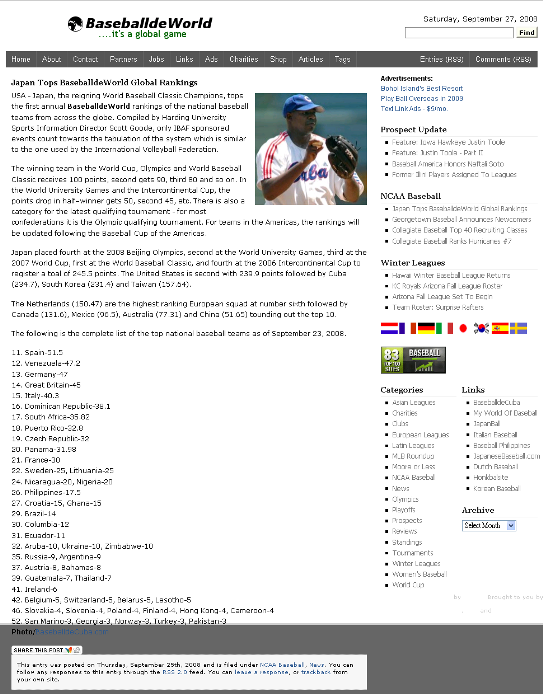 Japan Tops BaseballdeWorld Global Rankings  baseballdeworld.com