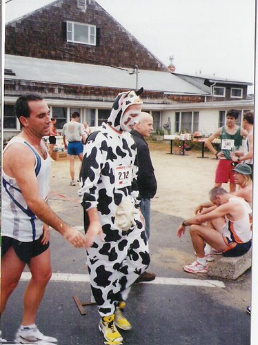don hebert as Donna the Cow in 2003, Photo courtesy of Don Penta of the Maine Track Club