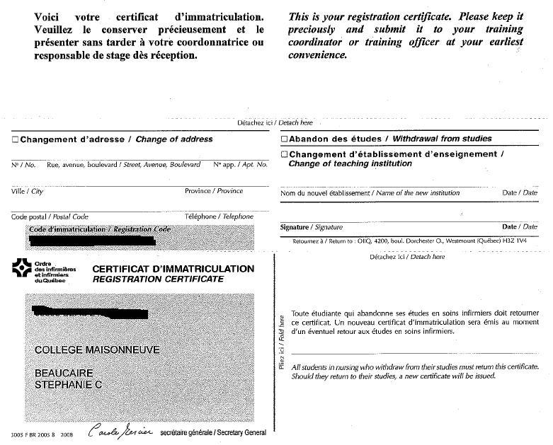 certificat dimmatriculation