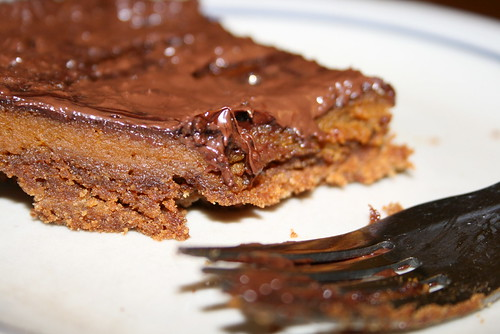 pumpkin pie with chocolate on top