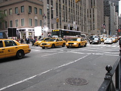 Mostly taxis--and busses--on the streets of NYC