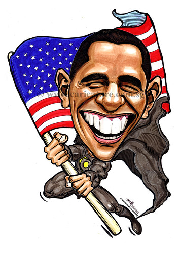 Politician caricature of Barack Obama A4 watermark
