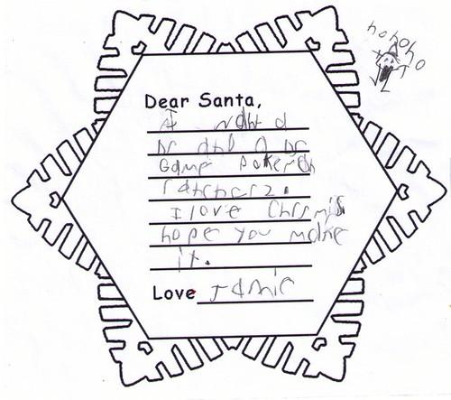 Jamies letter to Santa
