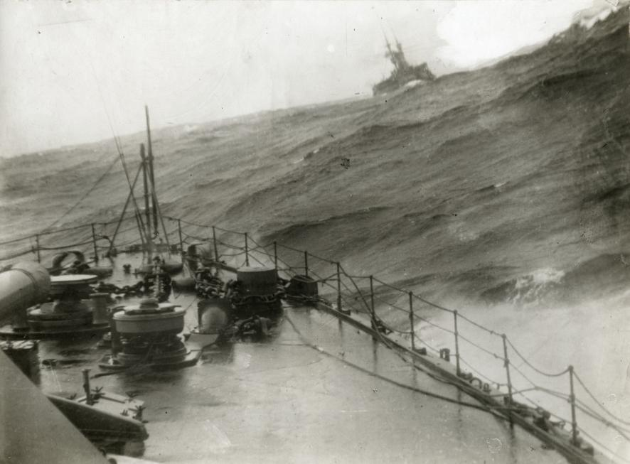 First World War. Naval warfare. 1915. English war ships in storms, with big waves.