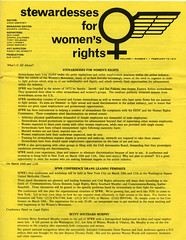Yellow flyer with black text with information about the Stewardesses for Women's Rights. Women's symbol with a wing coming out of the right side next to title.