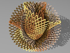 four hyperboloid bundles in a tetrahedral like intersection (fdecomite) Tags: geometry render math material bundle povray matter hyperboloid treillis latttice