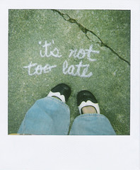 It's Not Too Late (SOMETHiNG MONUMENTAL) Tags: film feet polaroid chalk shoes crack 600 itsnottoolate somethingmonumental mandycrandell