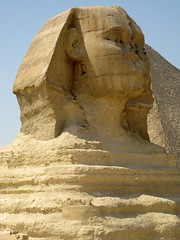 The Great Sphinx of Giza / Lower Egypt () Tags: africa man cemetery grave graveyard sphinx architecture nose design ancient ruins king desert pyramid northafrica profile lion egypt graves pharaoh limestone desierto goldenage publicart egipto ramadan rtw giza gypten egitto egypte wste roundtheworld gizeh ancientegypt afrique dsert  antiquities globetrotter greathouse northernafrica    gyptien worldtraveler nemes aljizah   sphinxofgiza egyptische greatsphinx greatsphinxofgiza 4thdynasty gypter   khufuspyramid nemesheaddress attributioncreativecommons   bodyofalion ivdynasty 4 nemesheadcloth  desertumafricanum