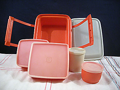 Red Tupperware Pak-N-Carry Lunchbox