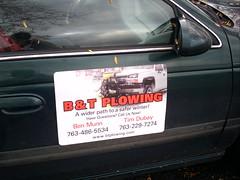 B&T Plowing - printed vehicle magnet (Signarama - Crystal, MN) Tags: exterior magnet