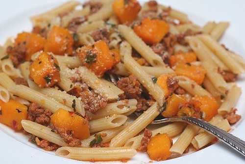 Penne with butternut squash, sausage and sage | A Beautiful Mosaic