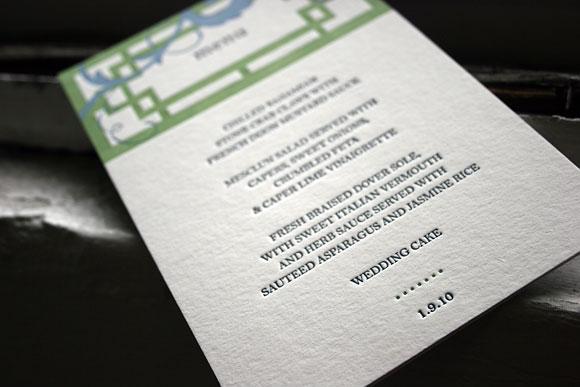 Helani letterpress menu - Smock