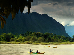Adrenalin rush on Nam Song river (Bn) Tags: kayak kayaking laos vangvieng adrenalinrush namsongriver limestonemountains mellowriver exhillarating setofrapids karstrockformation paddlealongtheriver stunninglimestonemountains letsgokayaking spectacularformations
