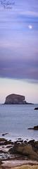 Bass Rock Vertical Panorama (verdantvista.com) Tags: ocean blue winter light sunset sea sky panorama cloud moon white seascape beach nature water vertical clouds landscape coast scotland sand nikon rocks northberwick dri bassrock eastlothian