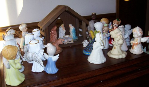 Nativity surrounded by my collection of angels