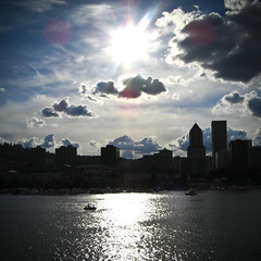 How Could You Not? (merrick_monroe) Tags: city light summer sky sun reflection water silhouette skyline clouds oregon river portland boats waterfront july willamette