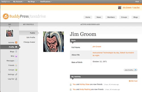Image of my profile page on testbp.org