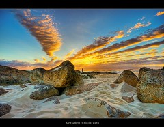 If the sun was to rise on the moon, this is what it might look like ;) ([ Kane ]) Tags: morning moon beach clouds dawn golden sand rocks glow pole explore kane bec hdr gledhill infinestyle kanegledhill vosplusbellesphotos humanhabits wonderworldgallery kanegledhillphotography