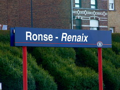 Ronse/Renaix station sign