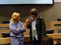 Pamela Kelley (right) talking with Jean Craciun during a break at the July 21 Anchorage Assembly meeting