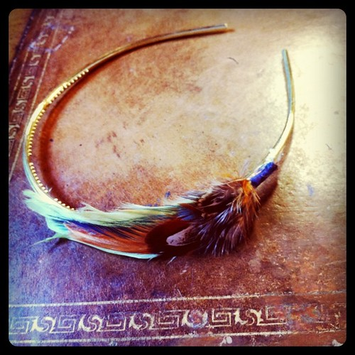 Homemade feather headband